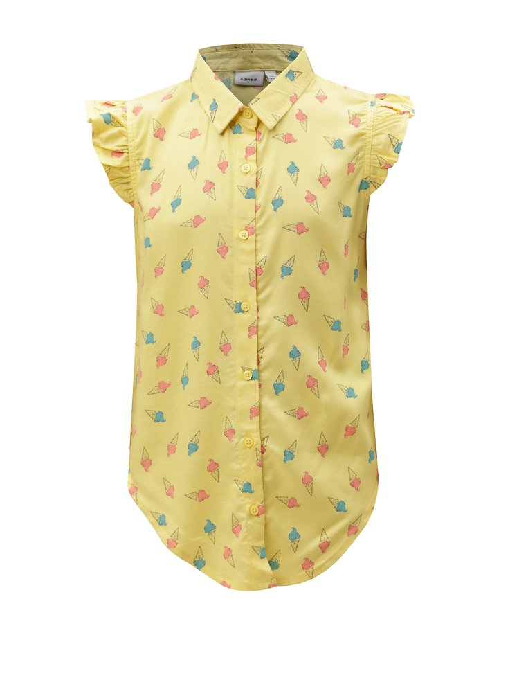 Žlutá vzorovaná holčičí halenka name it Junia