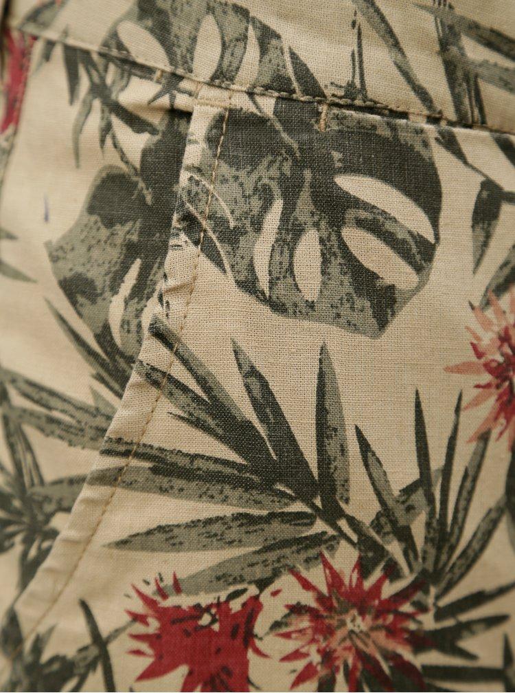 Béžové lněné vzorované chino kraťasy Blend