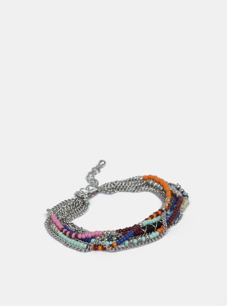 Náramek ve stříbrné barvě s barevnými korálky Pieces Dora