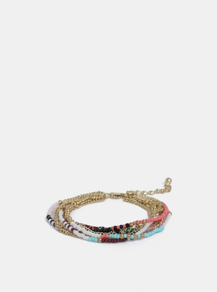 Náramek ve zlaté barvě s barevnými korálky Pieces Dora