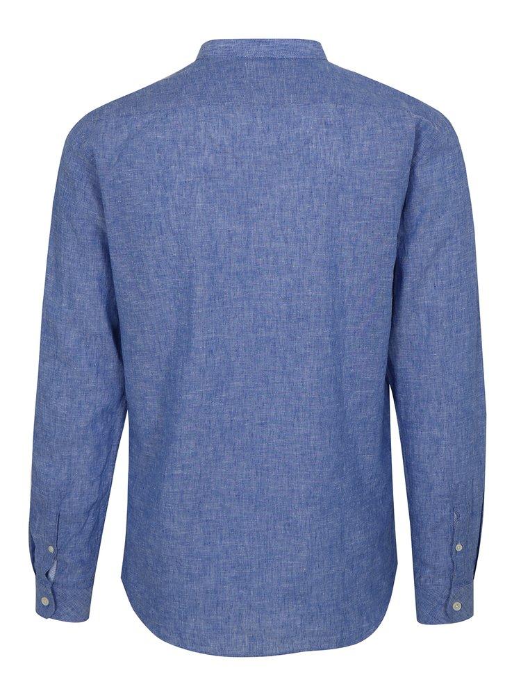 Modrá lněná košile s dlouhým rukávem Lindbergh