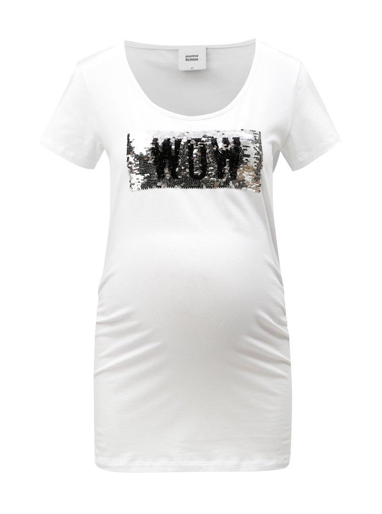 Bílé těhotenské tričko s magickými flitry Mama.licious Mica