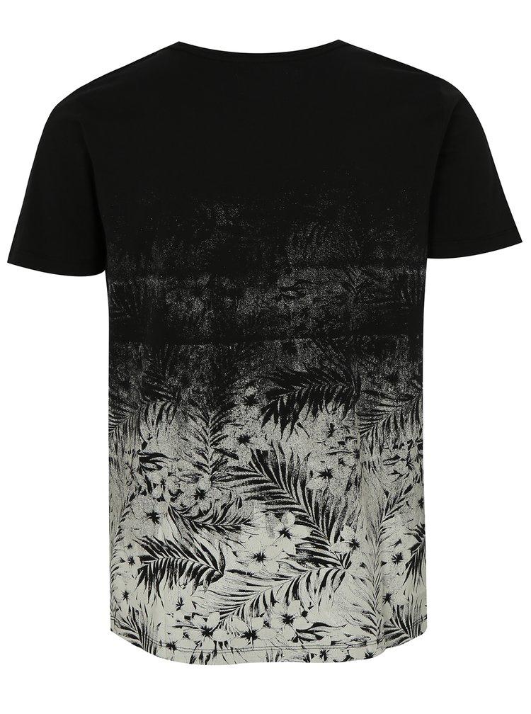 Bílo-černé květované tričko s potiskem Lindbergh