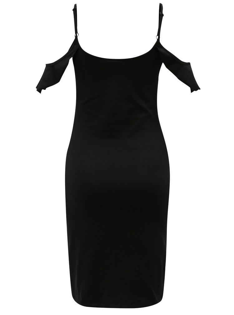 Černé šaty s odhalenými rameny Noisy May Laila