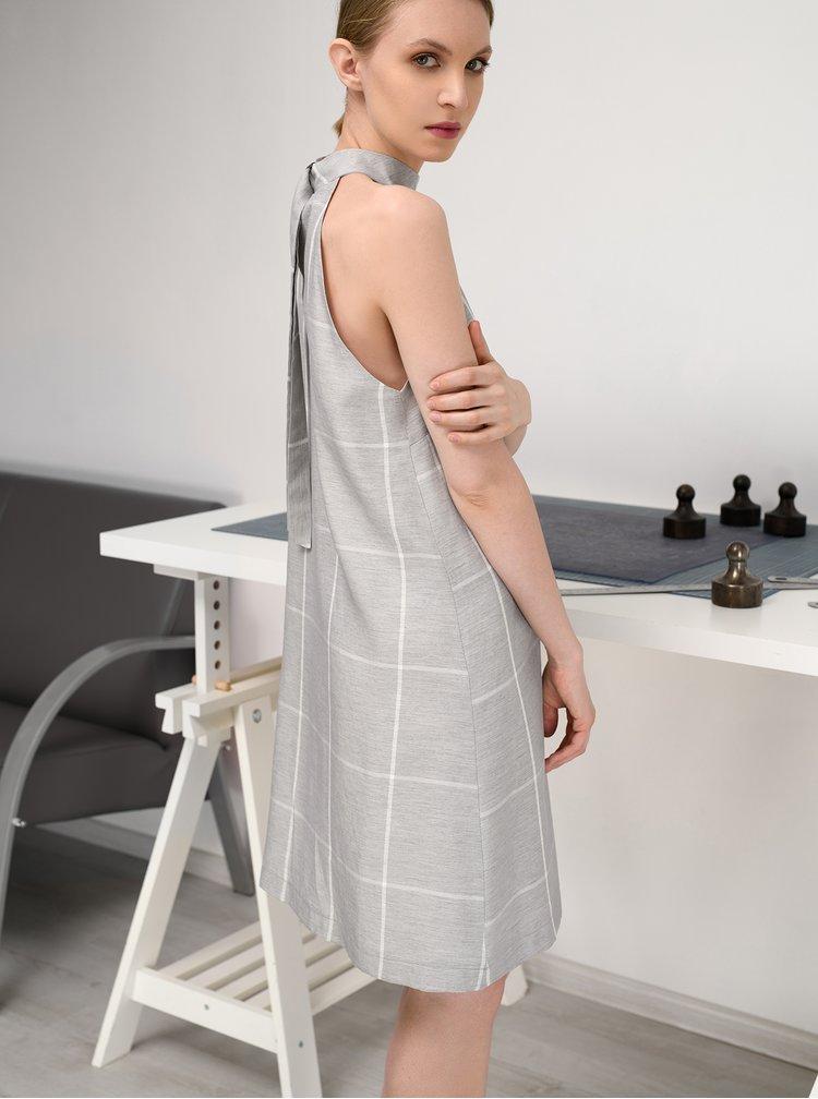 Šedé kostkované lněné šaty THAÏS & STRÖE