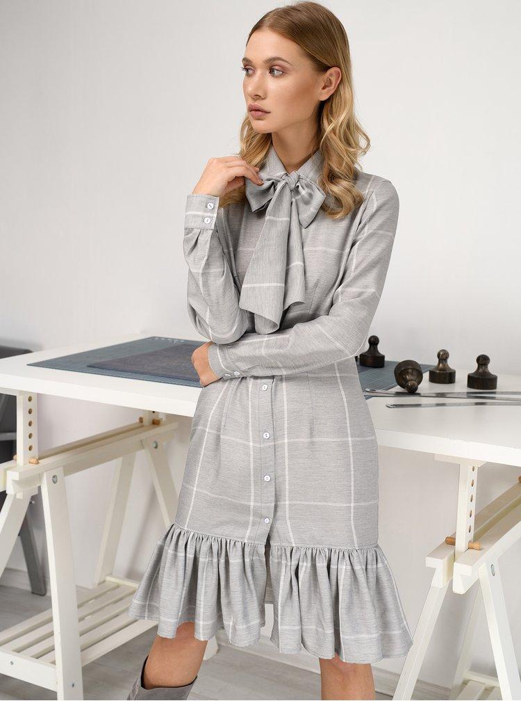 Šedé kostkované košilové lněné šaty s vázankou THAÏS & STRÖE
