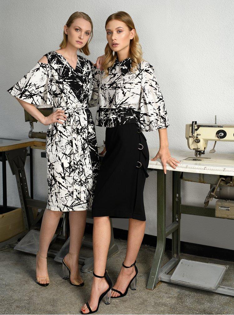 Černo-bílé vzorované zavinovací šaty THAÏS & STRÖE