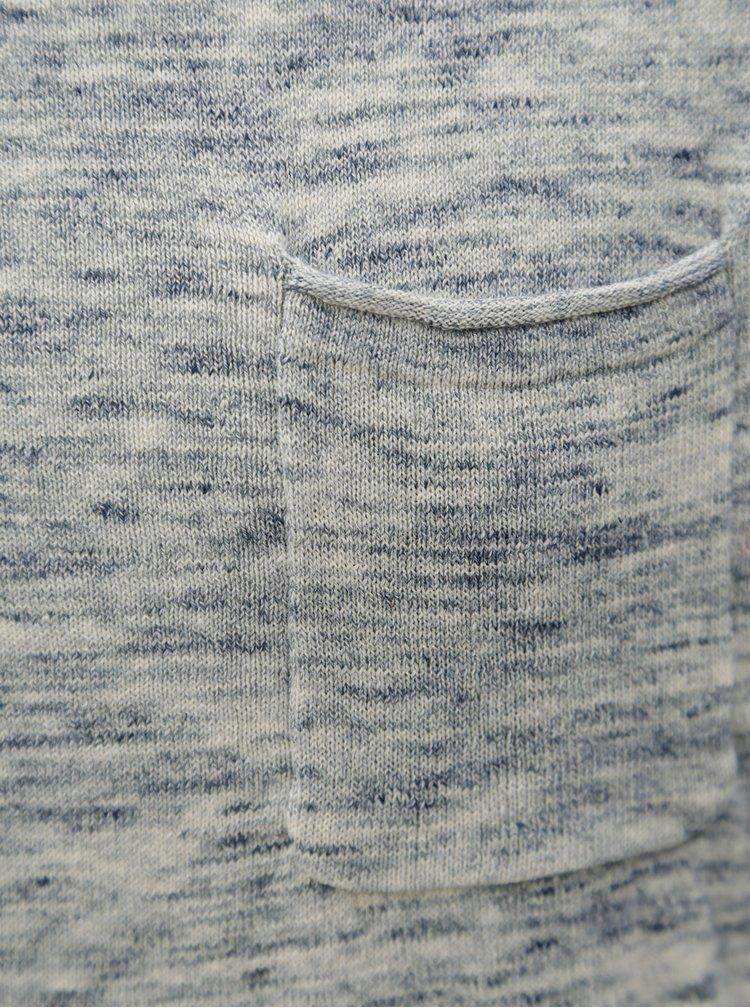 Krémovo-modrý žíhaný lehký slim fit svetr Blend