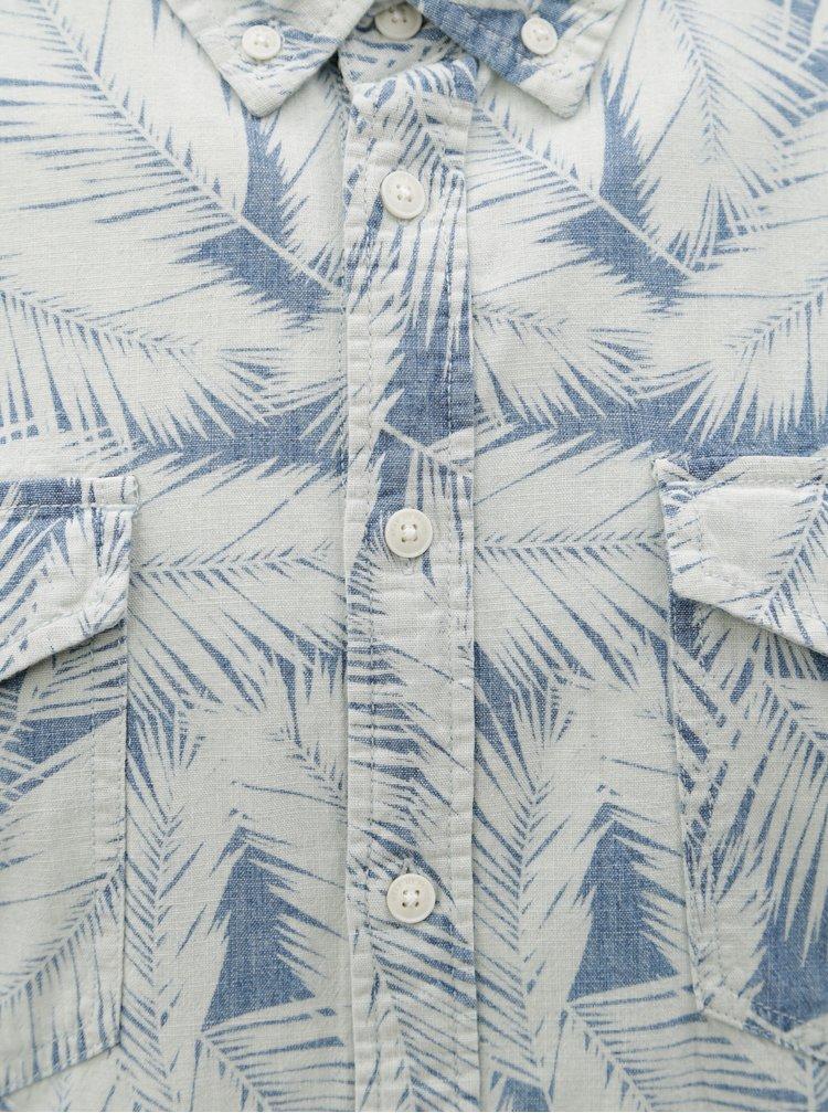 Camasa albastru-crem slim fit cu model Blend