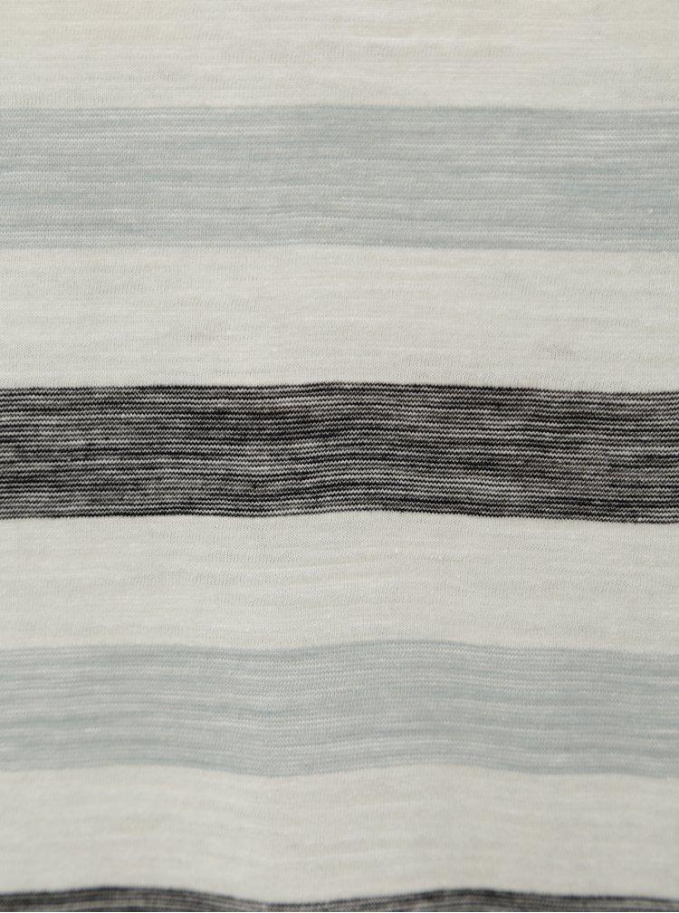 Černo-krémové pruhované slim fit tričko Blend