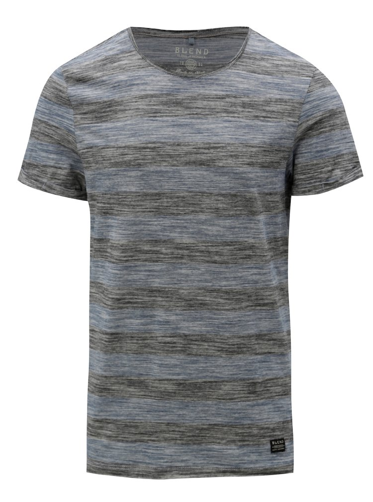 Modro-sivé melírované pruhované slim fit tričko Blend