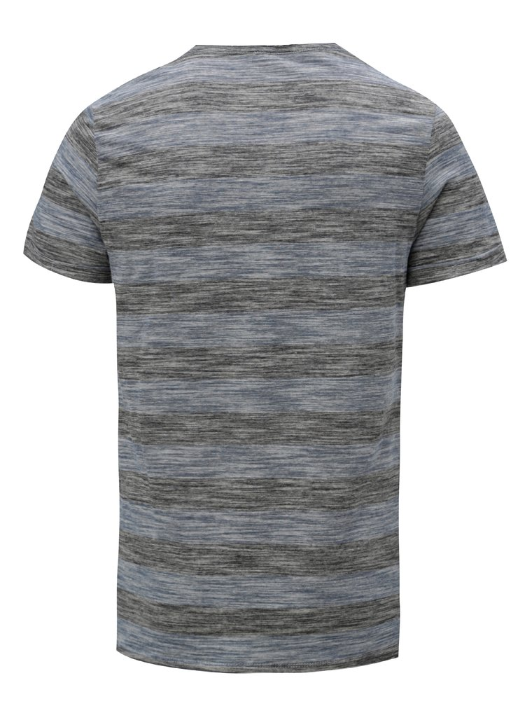 Modro-šedé žíhané pruhované slim fit tričko Blend