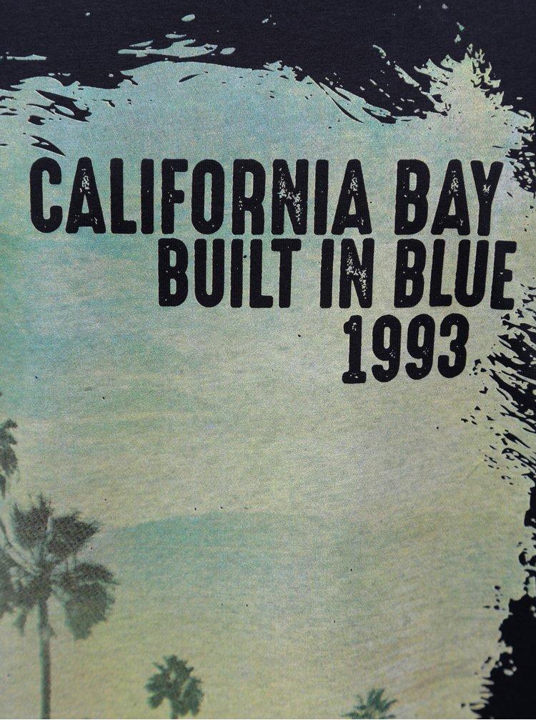 Tmavě modré regular fit tričko s potiskem Blend