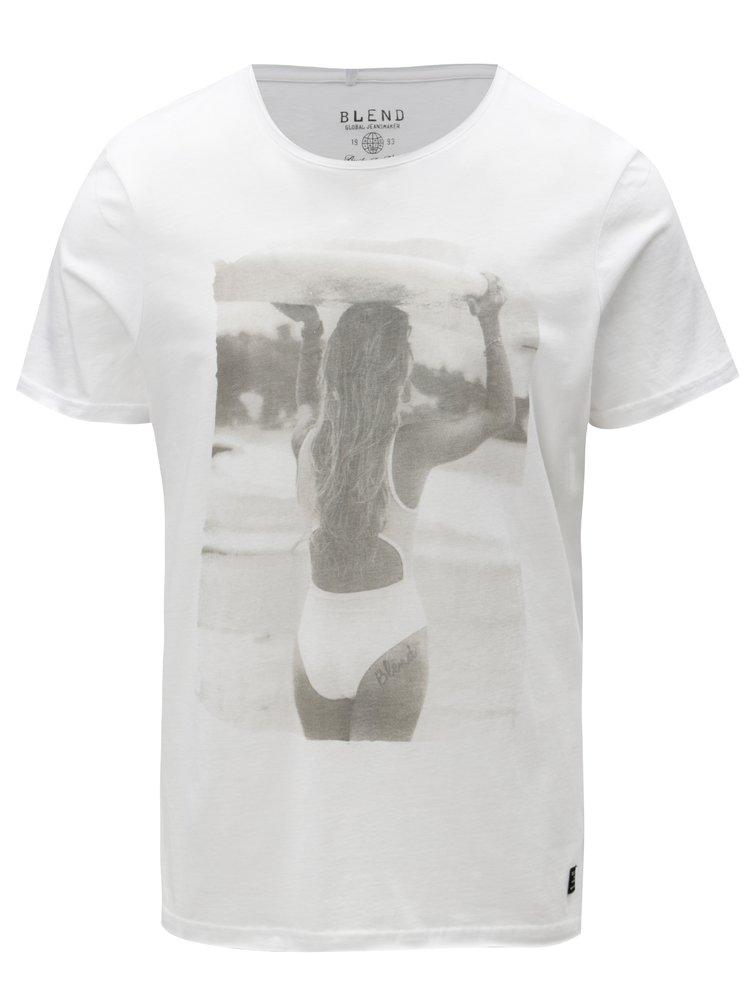 Bílé slim fit tričko s potiskem ženy Blend