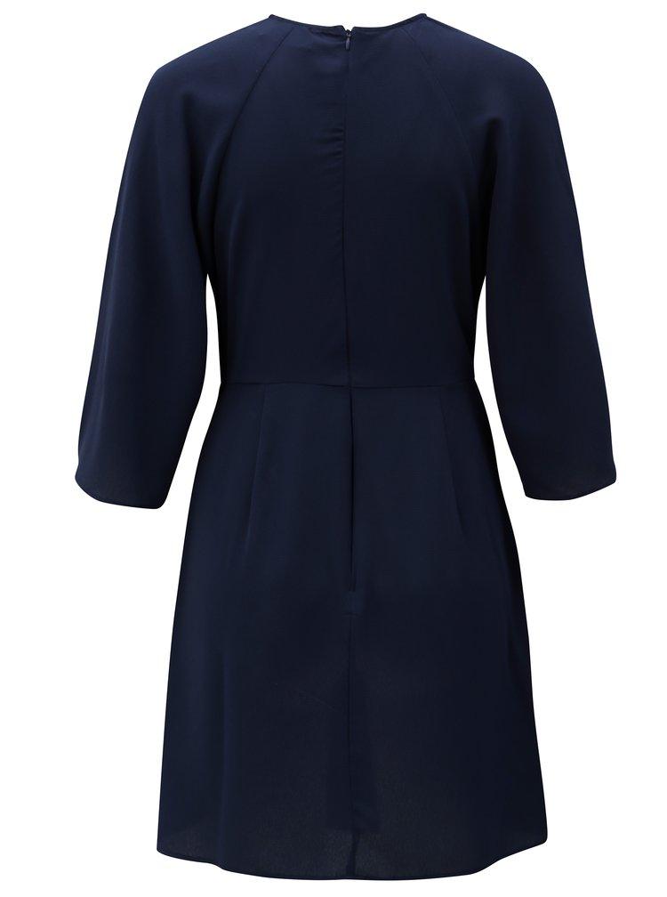 Tmavomodré šaty s uzlom a 3/4 rukávom AX Paris