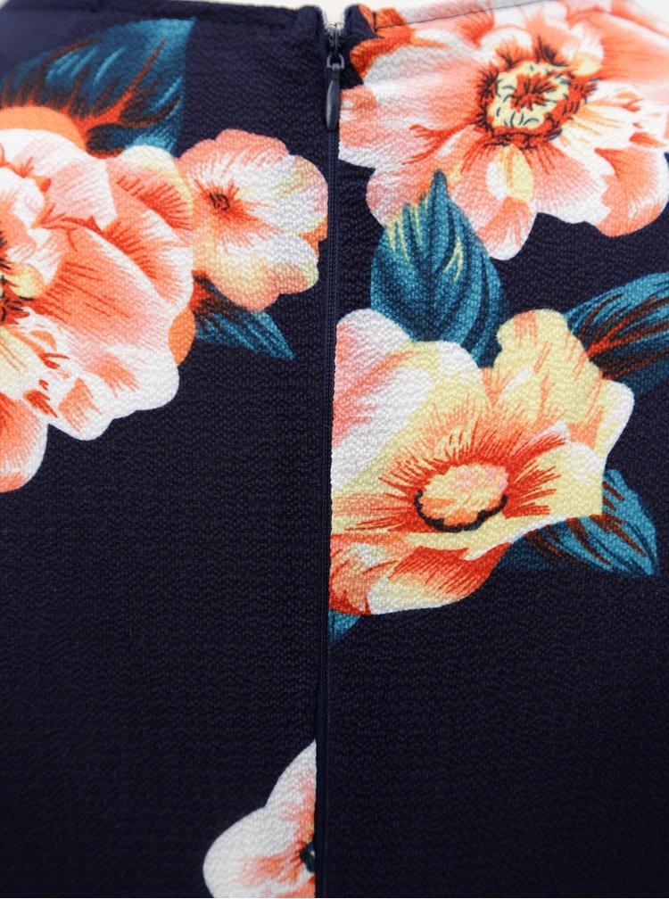 Tmavě modré květované maxišaty s překládaným výstřihem AX Paris