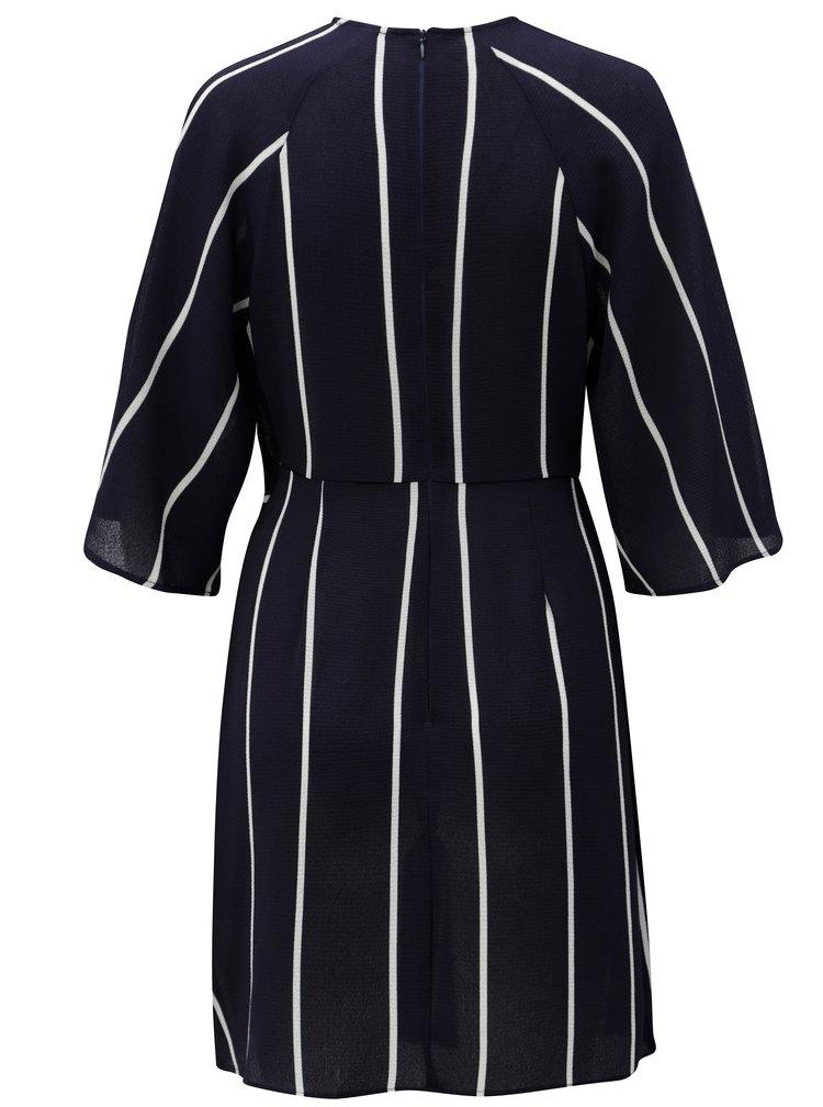 Tmavě modré pruhované šaty s uzlem a 3/4 rukávem AX Paris