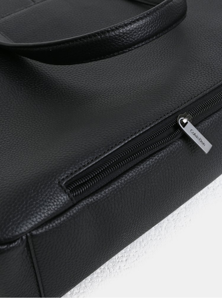 Černá pánská kožená taška na notebook Calvin Klein Jeans