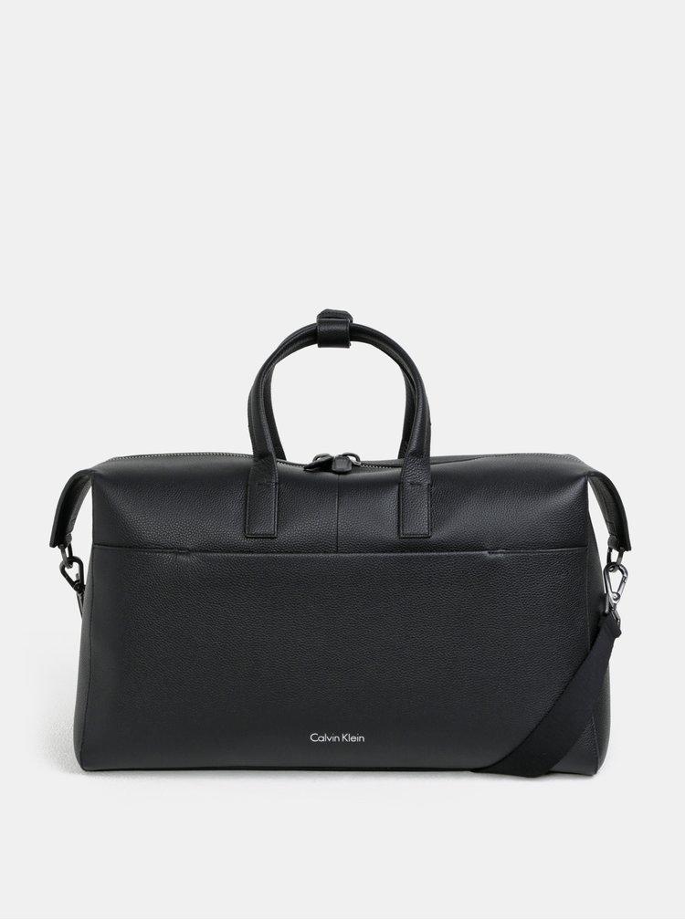 Černá dámská kožená cestovní taška s vakem Calvin Klein Jeans