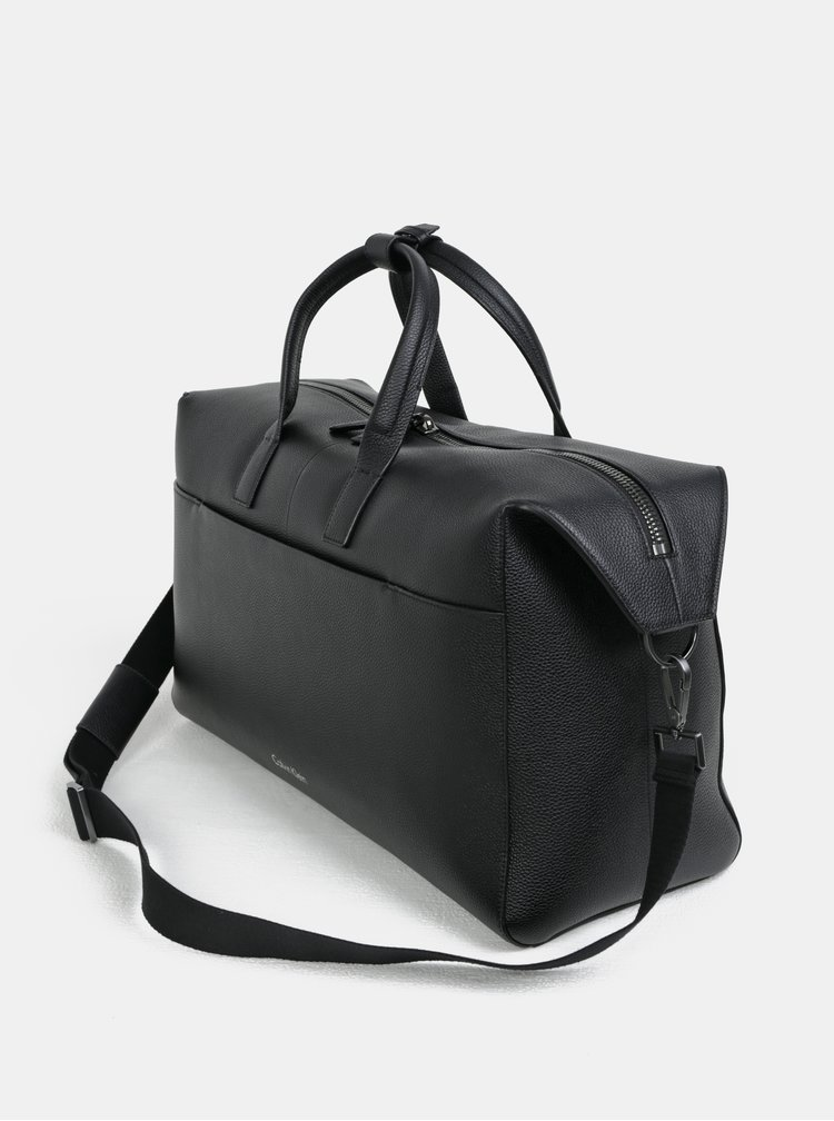 Černá kožená cestovní taška s vakem Calvin Klein Jeans