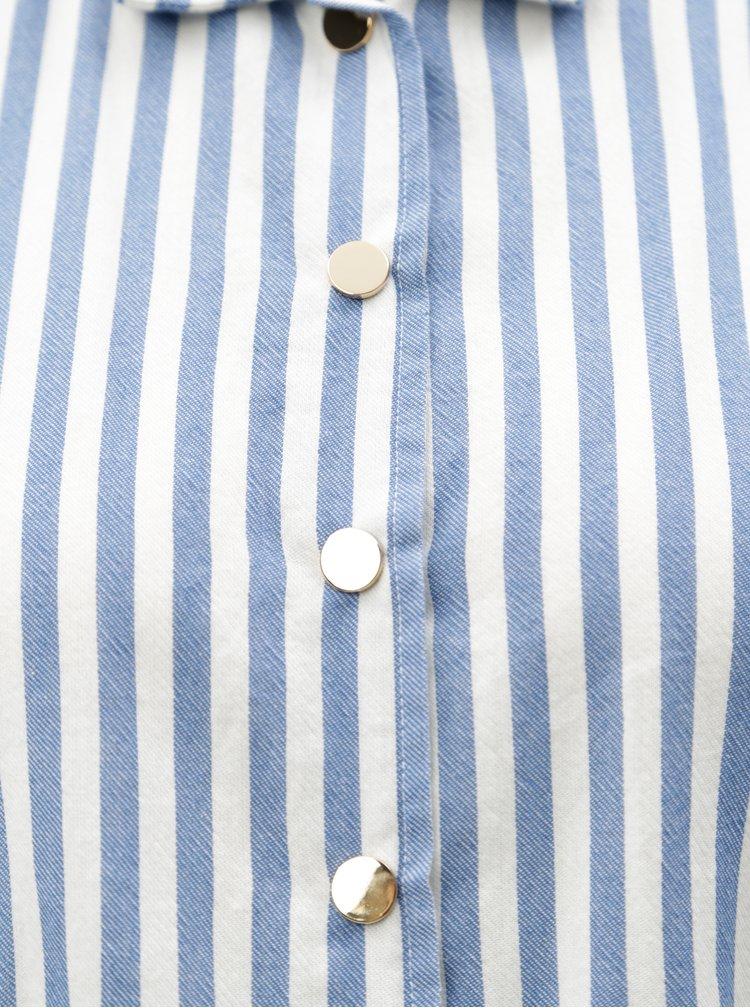Bílo-modré pruhované košilové šaty Moss Copenhagen