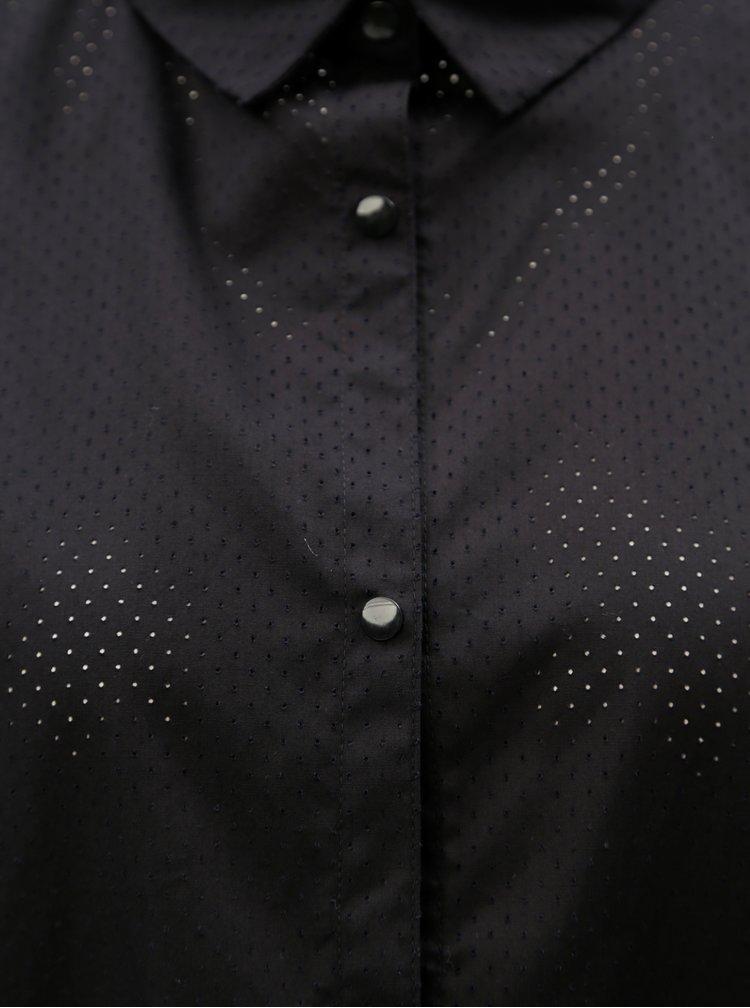 Černá volná zkrácená košile s dírkovaným vzorem Moss Copenhagen