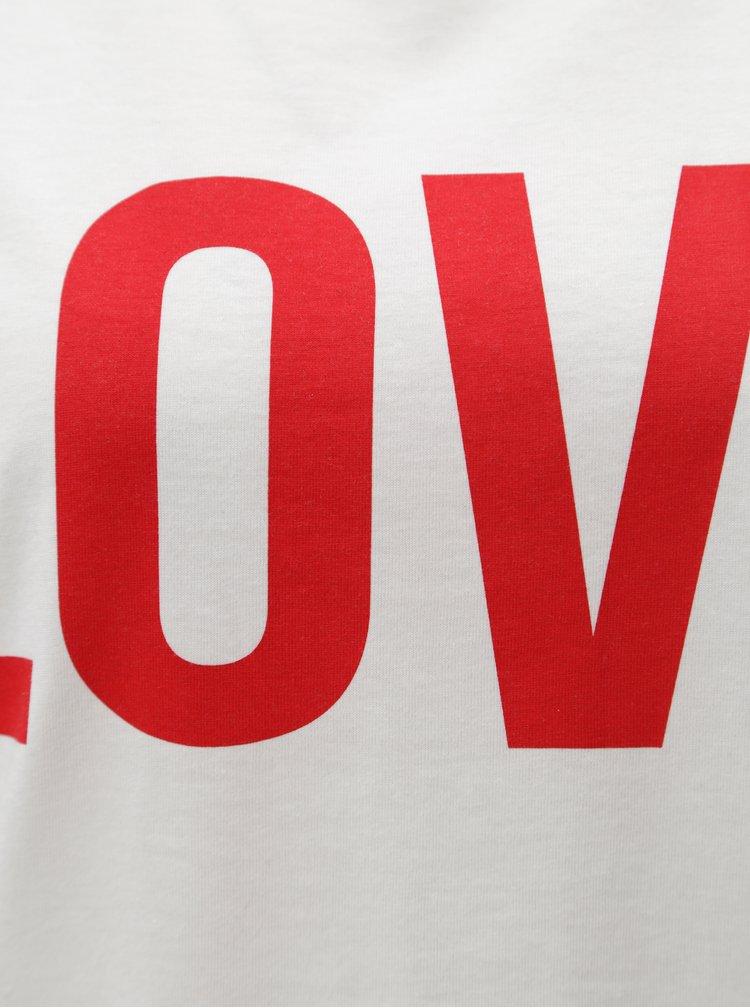Bílé tričko s potiskem ONLY RIVA Love