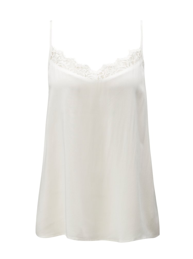 Bílý top s krajkou v dekoltu Jacqueline de Yong Fame