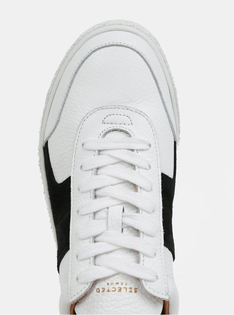 Bílé kožené tenisky se semišovými detaily Selected Femme Dina