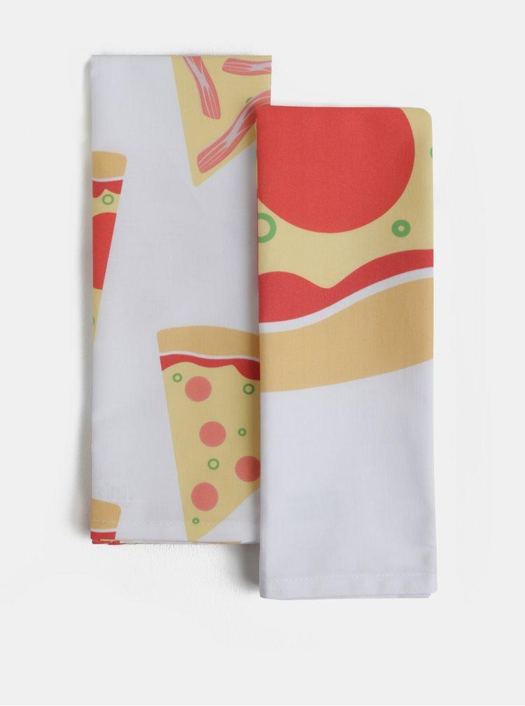 Sada dvou bílých utěrek s potiskem pizzy Butter Kings