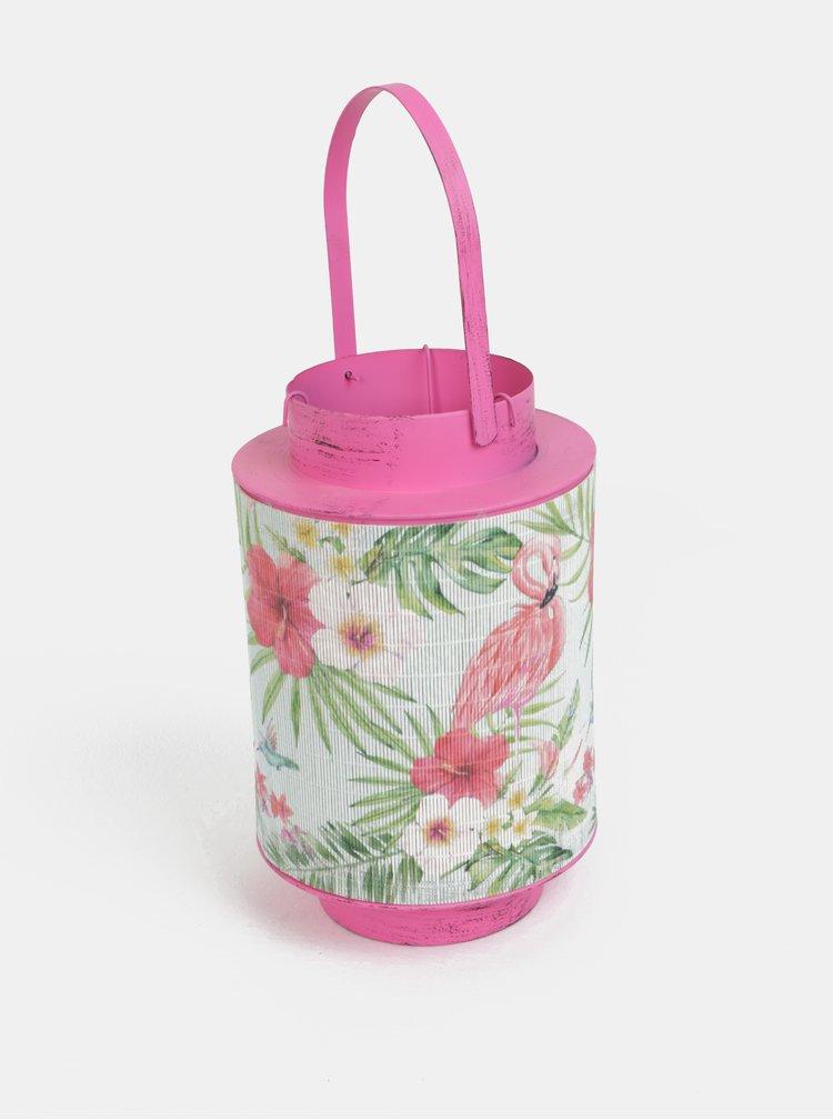 Lanterna metalica roz cu bambus si motiv flamingo Kaemingk