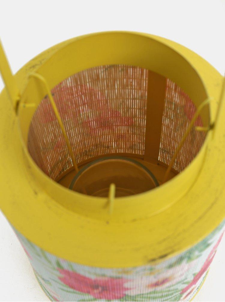 Žlutá kovová lucerna s bambusem a motivem plameňáka Kaemingk