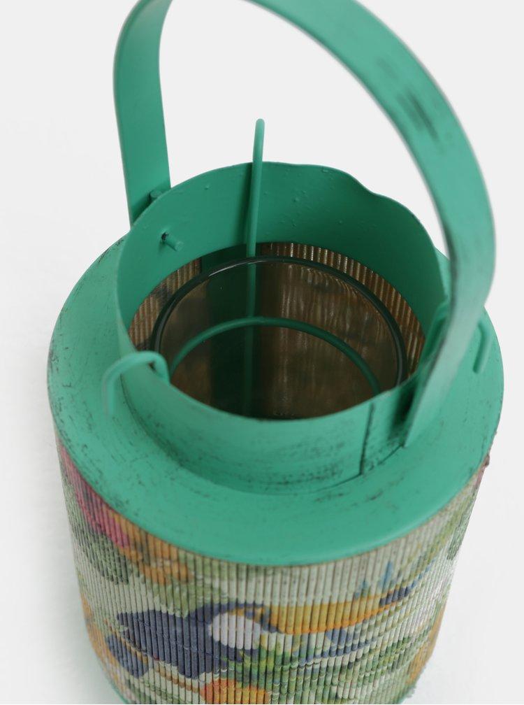 Lanterna metalica verde de dimensiuni reduse cu bambus si motiv tukan Kaemingk