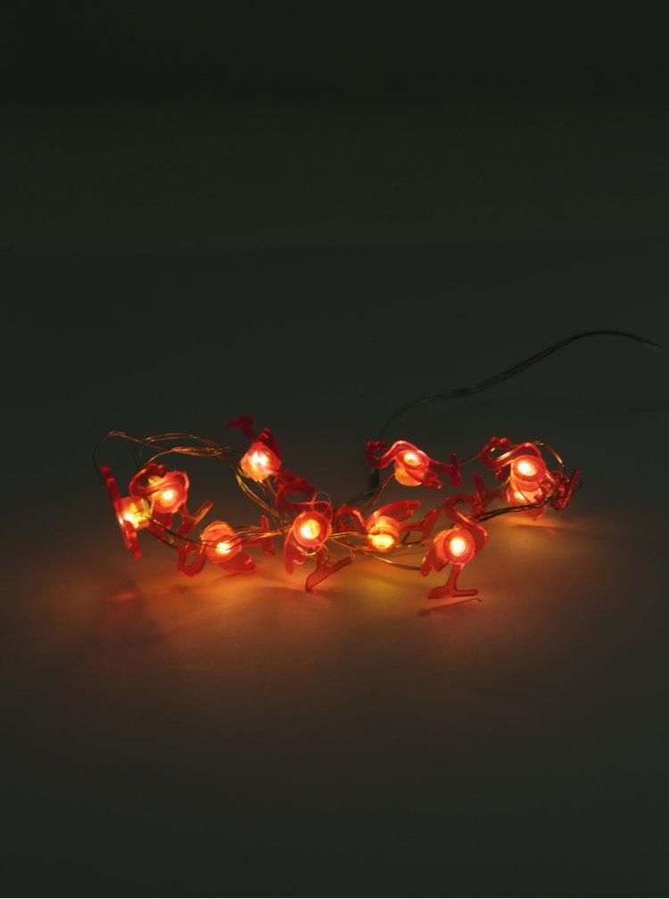 Růžový LED světelný řetěz ve tvaru plameňáků Kaemingk