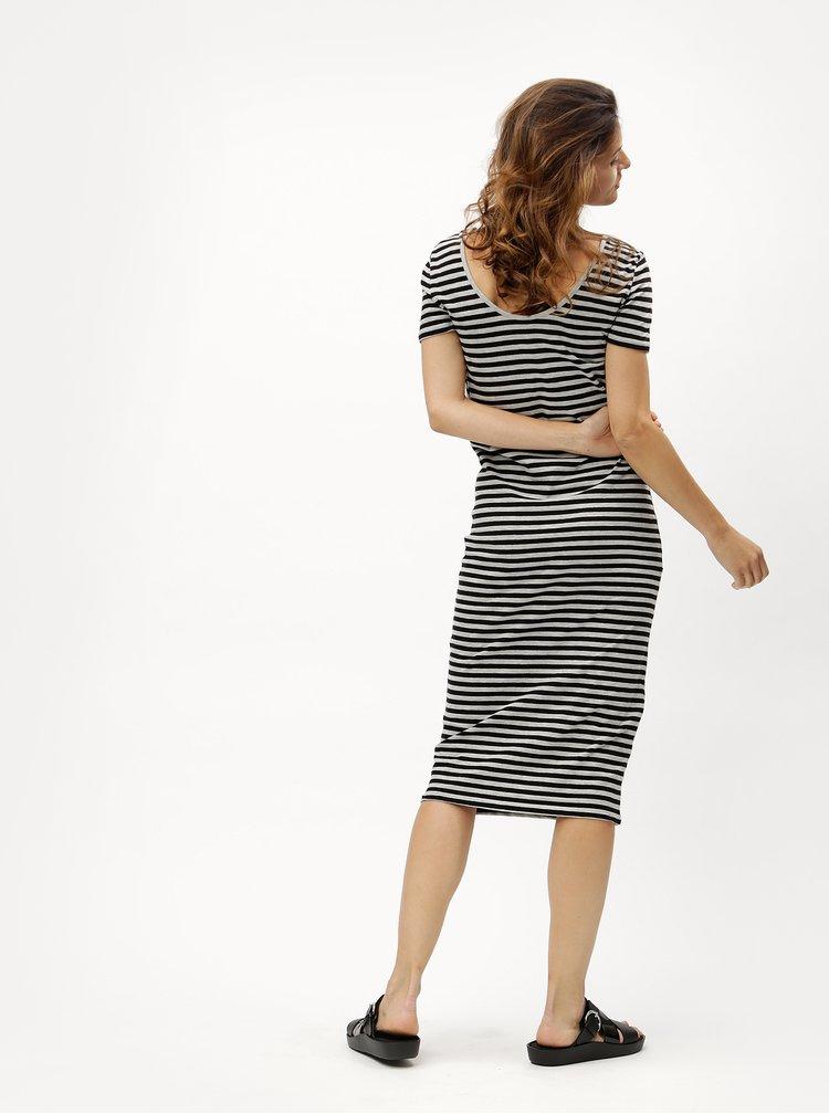 Černo-šedé pruhované žíhané šaty ONLY Abbie
