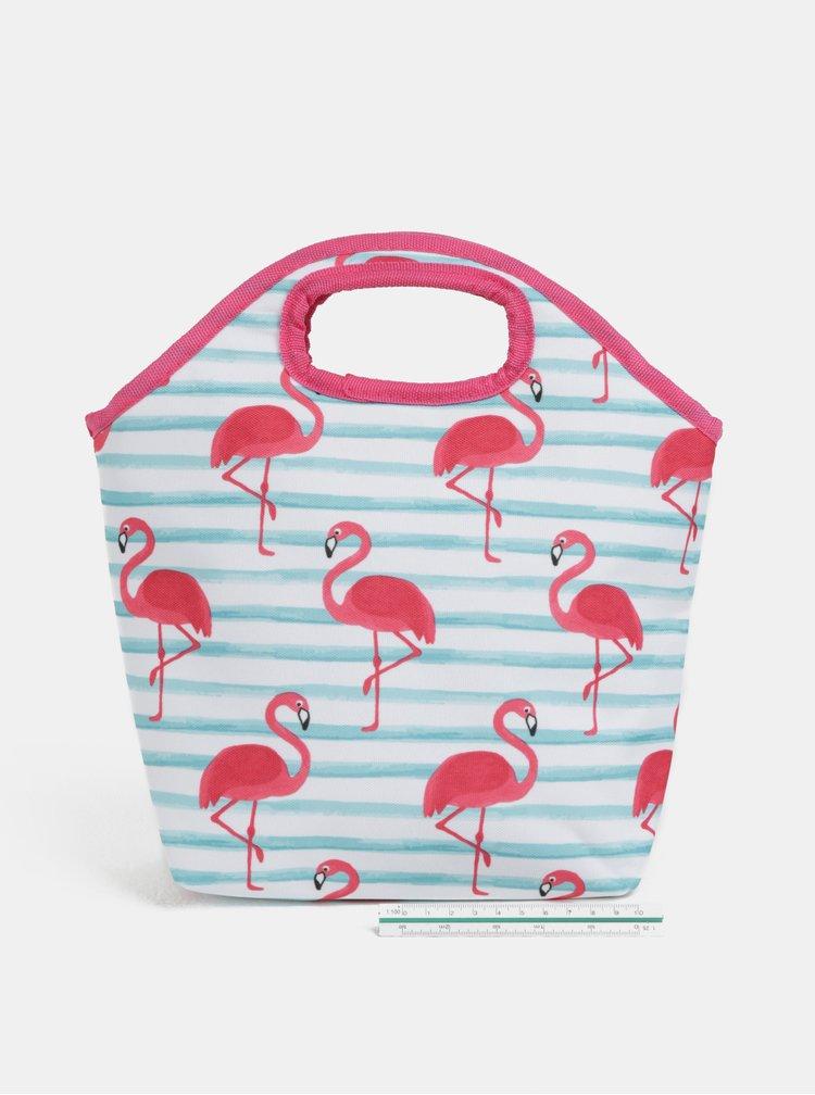 Bílo-růžová pruhovaná termo taška s motivem plameňáků Kaemingk