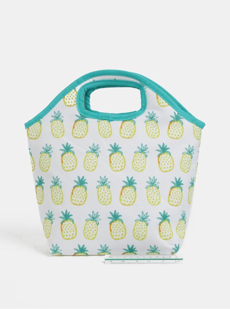 Bílo-zelená termo taška s motivem ananasů Kaemingk