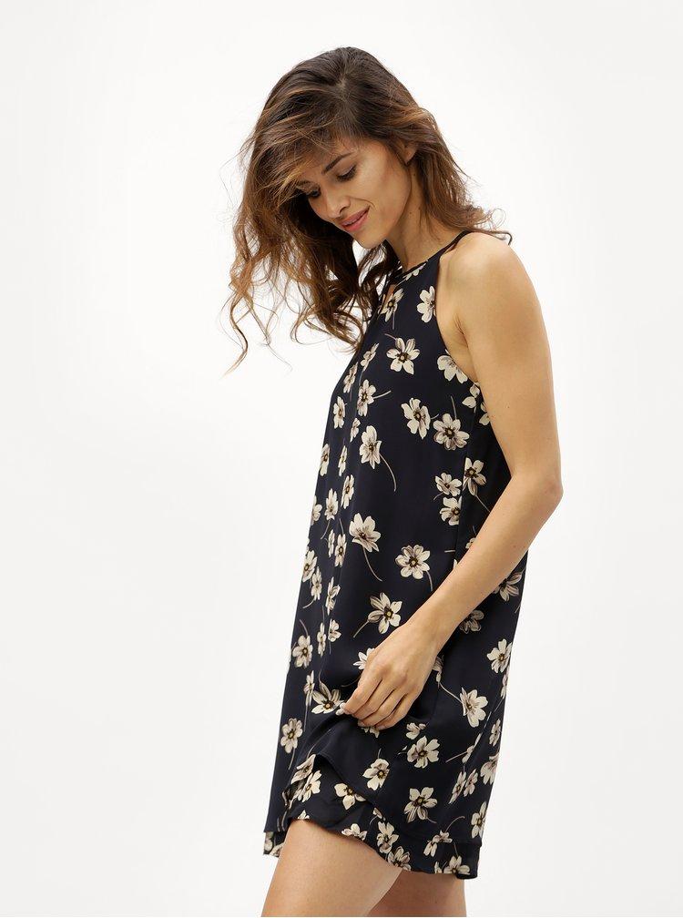 Tmavě modré květované šaty bez rukávů ONLY Jenifer