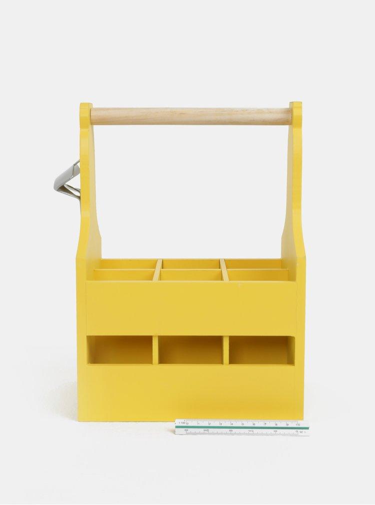 Žlutý dřevěný nosič na lahve s otvírákem Kaemingk