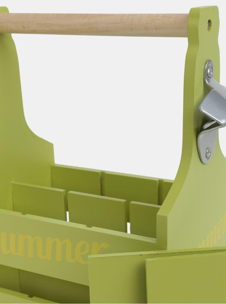 Světle zelený dřevěný nosič na lahve Kaemingk
