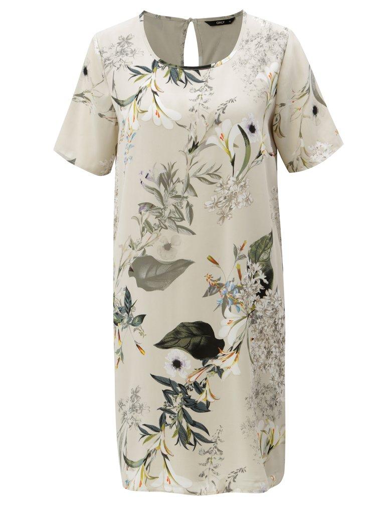 Béžové květované šaty ONLY Alma