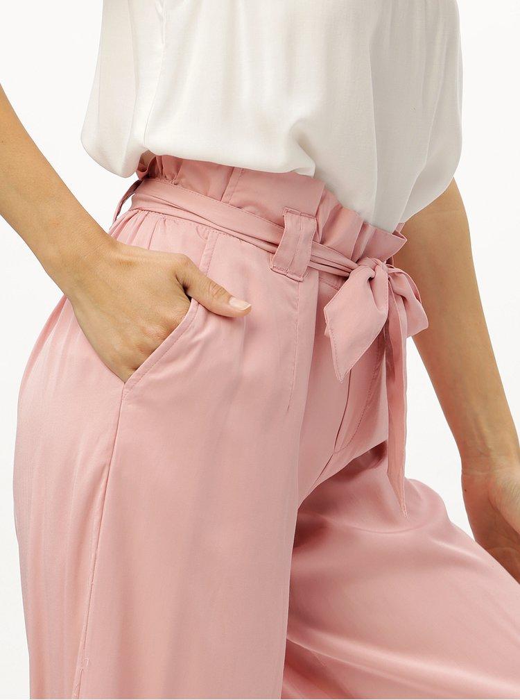 Pantaloni culottes roz deschis cu cordon ONLY Devon
