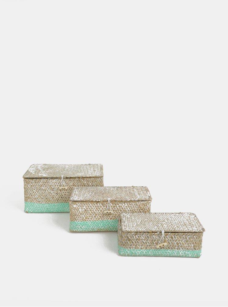 Set de trei cosuri din iarba de mare mentol-maro Kaemingk