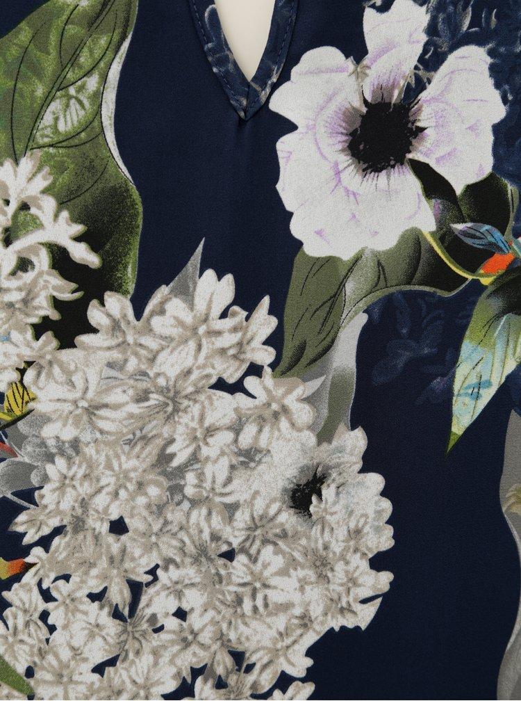 Rochie albastru inchis cu model floral ONLY Alma