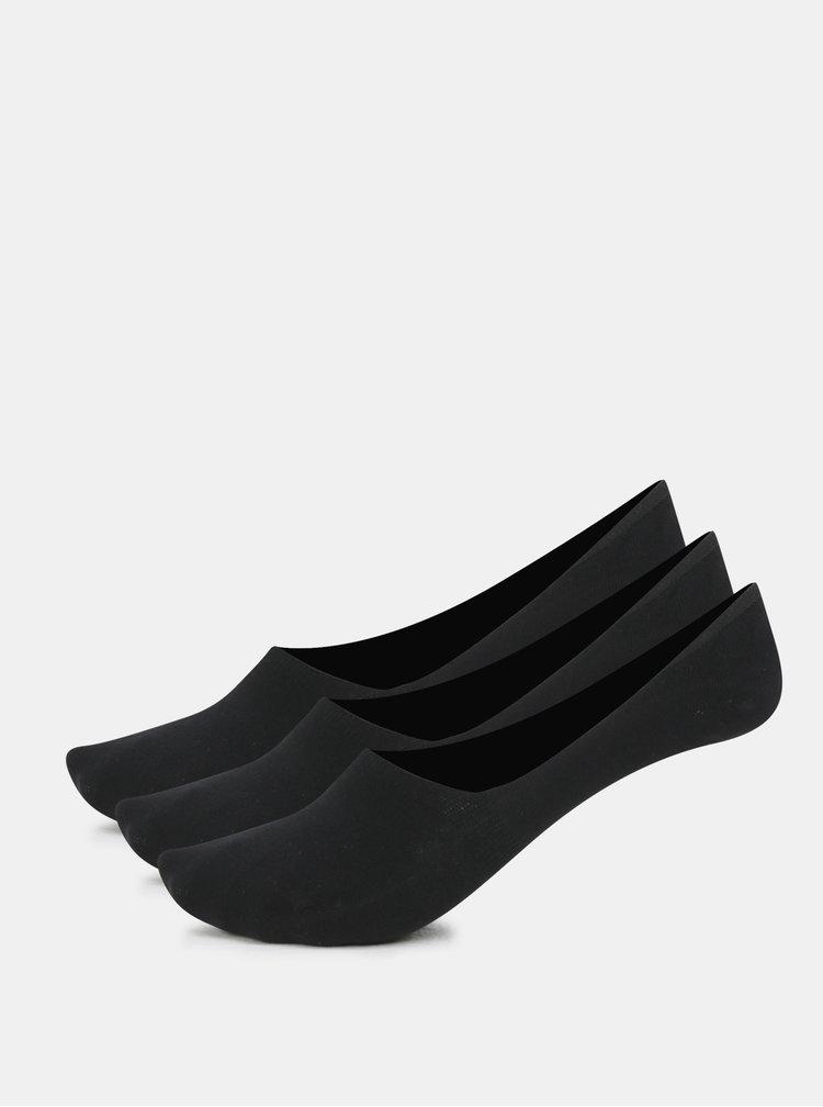 Sada troch bavlnených sneaker ponožiek v čiernej farbe Bellinda Invisible