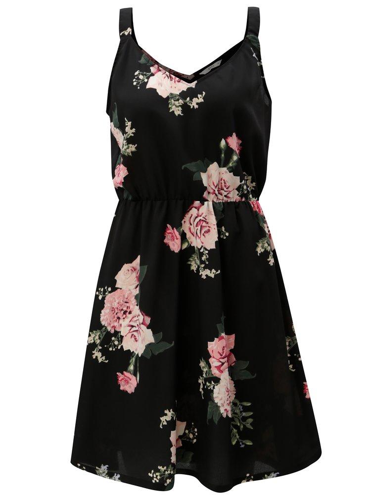 Černé květované šaty na ramínka ONLY Bloom