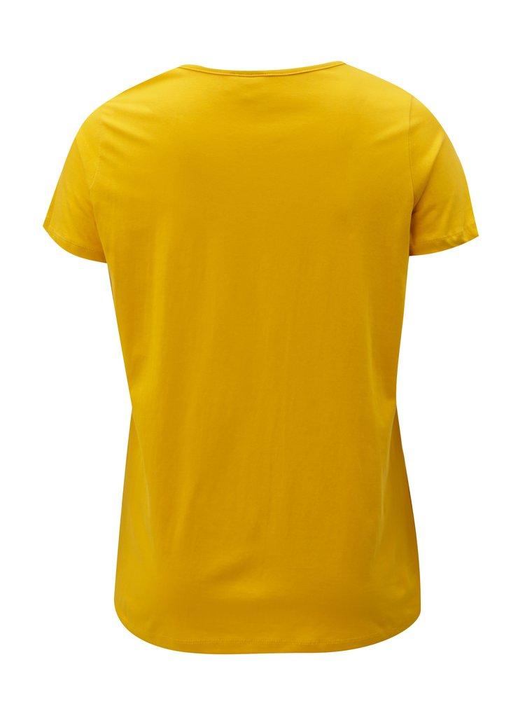 Hořčicové tričko s potiskem Zizzi Fierce