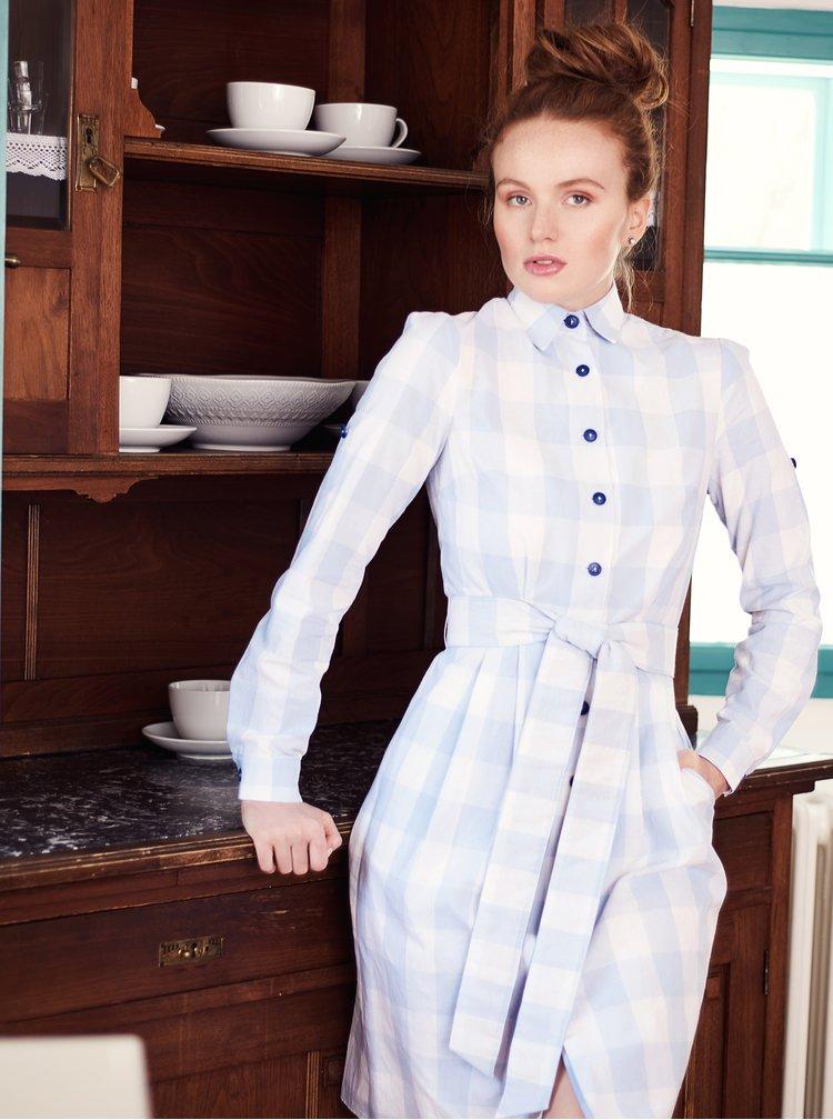 Svetlomodré kockované košeľové šaty Bohemian Tailors Edita