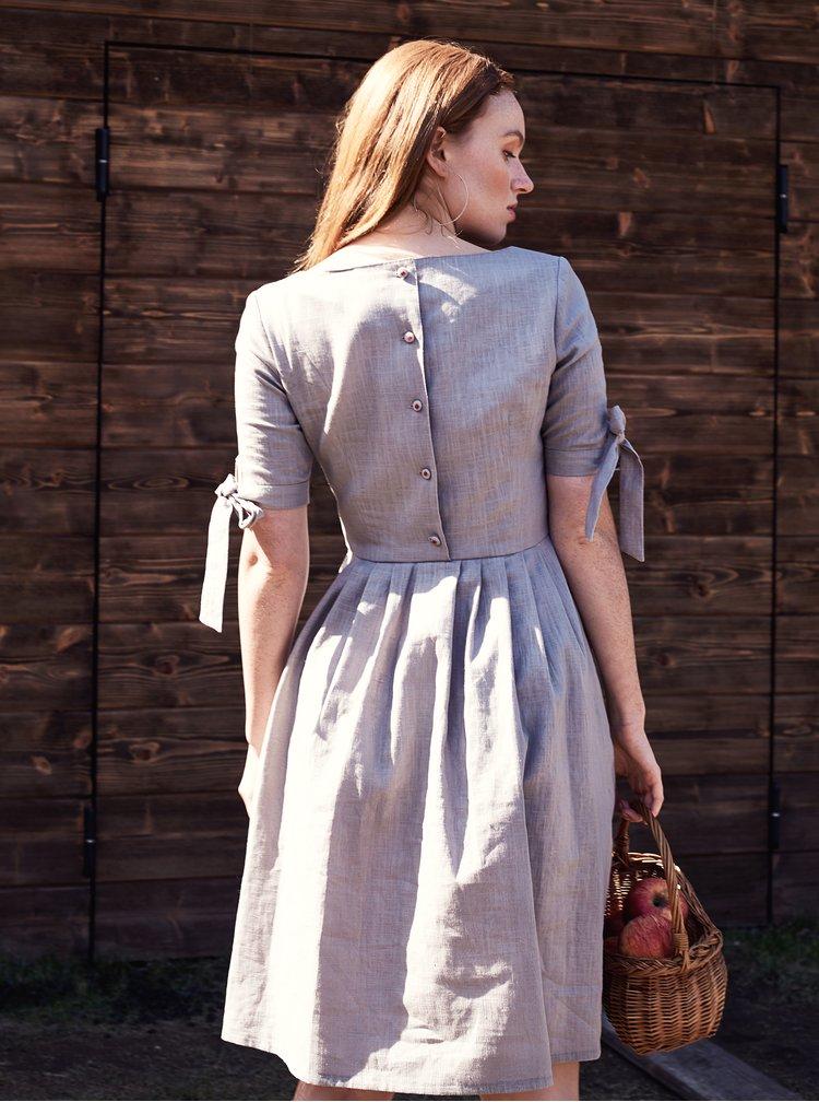 Béžové lněné šaty Bohemian Tailors Fausta