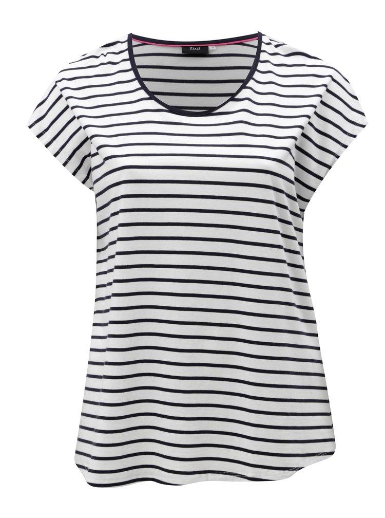 Modro-bílé pruhované basic tričko Zizzi Mina